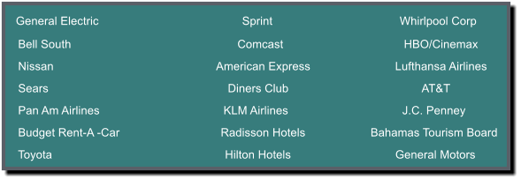 General Electric                                            Sprint                                       Whirlpool Corp      Bell South                                                   Comcast                                     HBO/Cinemax      Nissan                                                  American Express                          Lufthansa Airlines      Sears                                                       Diners Club                                         AT&T      Pan Am Airlines                                      KLM Airlines                                   J.C. Penney      Budget Rent-A -Car                               Radisson Hotels                    Bahamas Tourism Board      Toyota                                                     Hilton Hotels                                General Motors